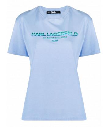 Футболка KARL LAGERFELD 215W1706 голубая с логотипом