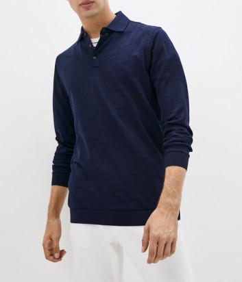 Мужское поло KARL LAGERFELD 745012 512215 с длинным рукавом синее