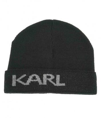 Мужская шапка KARL LAGERFELD 805601 512322 черная с логотипом