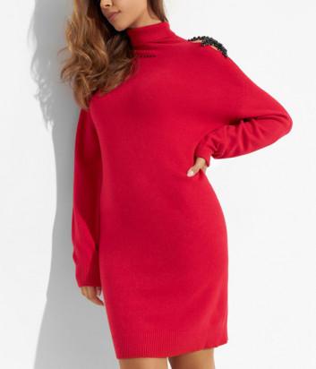Платье ERMANNO FIRENZE D39ET MG16PAT с декором на плече красное