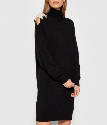 Платье ERMANNO FIRENZE D39ET MG16PAT с декором на плече черное