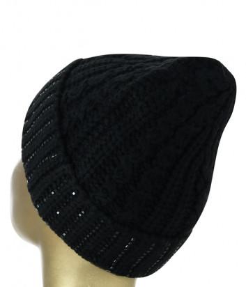 Шапка в рубчик ERMANNO FIRENZE D39ET AV20MDL декор из кристаллов черная