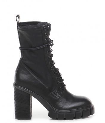 Кожаные ботинки FRU.IT 7340 на шнуровке черные