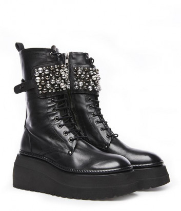 Кожаные ботинки FRU.IT 7282 с декором черные