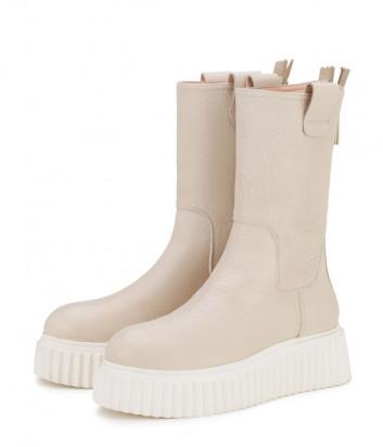 Кожаные ботинки ATTILIO GIUSTI LEOMBRUNI (AGL) 751503 на платформе кремовые
