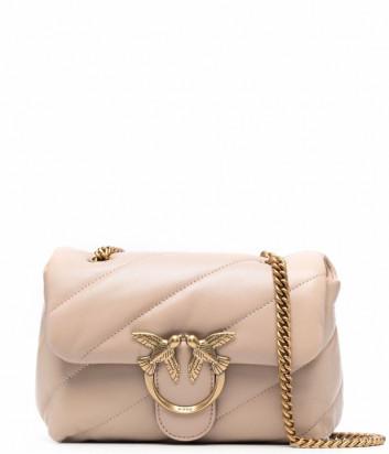 Сумка на цепочке PINKO Mini Love Bag Puff 1P22B1 в стеганной коже бежевая