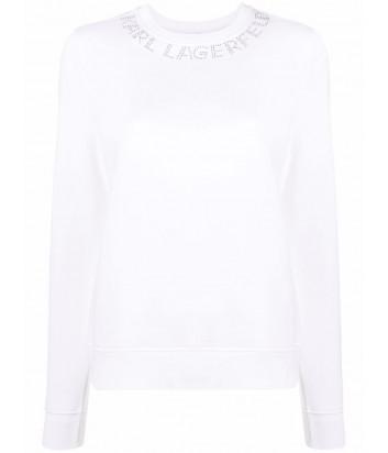 Толстовка KARL LAGERFELD 216W1801 с логотипом из страз белая