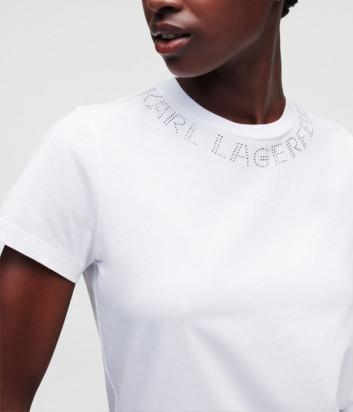 Футболка KARL LAGERFELD 216W1704 с логотипом из страз белая