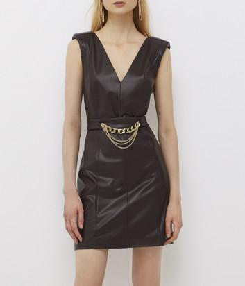 Мини-платье LIU JO CF1008E0641 в экокоже коричневое