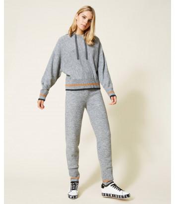 Трикотажный костюм TWINSET 212LI3QGG джемпер и брюки серый