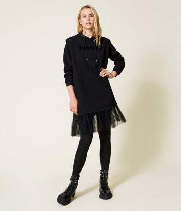 Платье TWINSET 212LI2SMM из флиса и тюля с логотипом черное