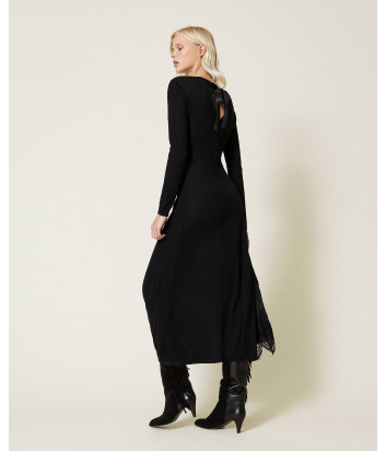 Длинное платье TWINSET 212TP3282 с плиссировкой и кружевом черное