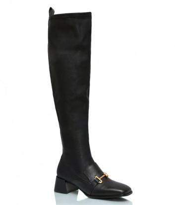 Кожаные сапоги-чулки JEANNOT HJ553 на низком каблуке черные