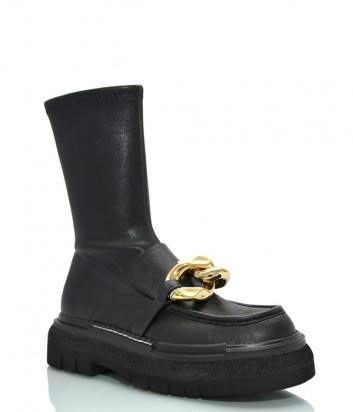 Кожаные ботинки JEANNOT HJ503 черные с декором