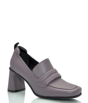 Кожаные туфли JEANNOT HJ574 на широком каблуке серые