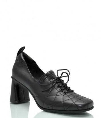 Кожаные туфли JEANNOT HJ571 на широком каблуке черные