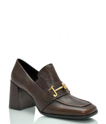 Кожаные туфли JEANNOT HJ564 на широком каблуке коричневые