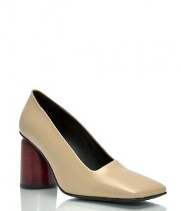 Лаковые туфли HALMANERA Fulvia 05 с квадратным носком бежевые