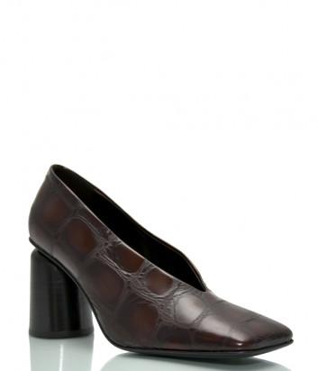 Кожаные туфли HALMANERA Fulvia 01 с тиснением под крокодила шоколадные