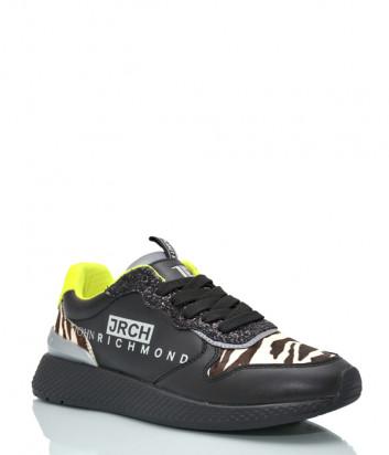 Женские кожаные кроссовки JOHN RICHMOND 12329 черные со вставками