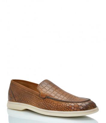 Кожаные туфли BRECOS 10014 с тиснением под крокодила рыжие