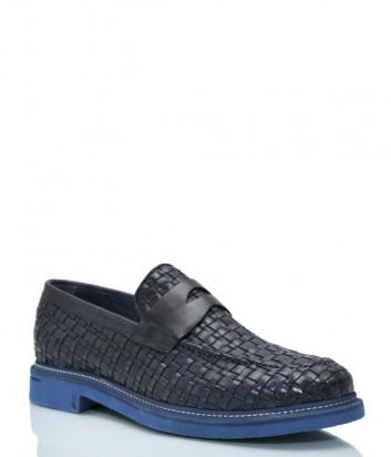 Текстурные кожаные туфли BRECOS 8662 темно-синие