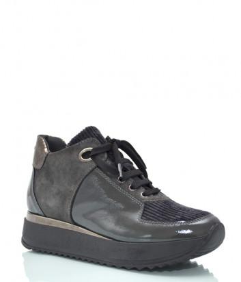 Замшевые кроссовки KELTON 0111 с лаковыми вставками серые