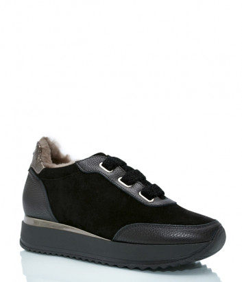 Замшевые кроссовки KELTON 0100 на меху черные