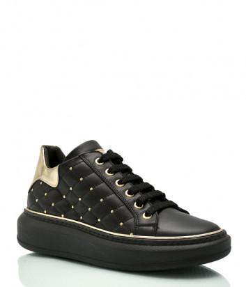 Кожаные кроссовки ROBERTO SERPENTINI 8321 стеганные черные