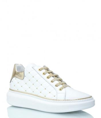 Кожаные кроссовки ROBERTO SERPENTINI 8321 стеганные белые