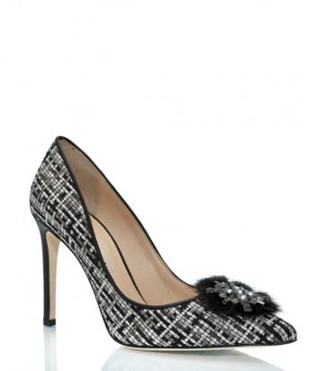 Кожаные туфли ROBERTO SERPENTINI 25074 с твидовой отделкой и декором