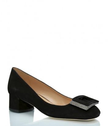 Замшевые туфли ROBERTO SERPENTINI 25122 на широком каблуке черные