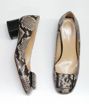 Кожаные туфли ROBERTO SERPENTINI 25120 на широком каблуке с питоновым принтом