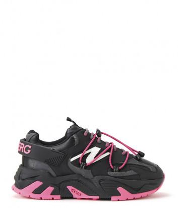 Кожаные кроссовки ICEBERG 21I12P1882068 черные с розовыми вставками