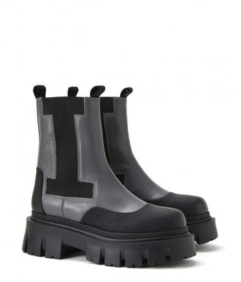 Кожаные ботинки ICEBERG 21I12P1880568 с эластичными вставками серые