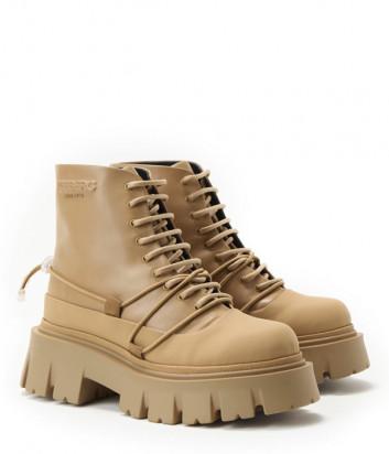 Кожаные ботинки ICEBERG 21I12P1880668 на шнуровке бежевые