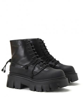 Кожаные ботинки ICEBERG 21I12P1880668 на шнуровке черные