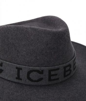 Шляпа-федора ICEBERG 71016901 с вышитым логотипом серая