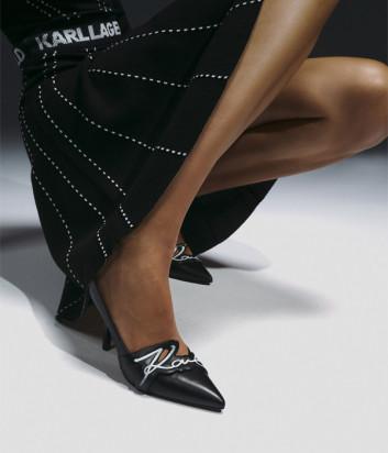 Кожаные туфли-лодочки KARL LAGERFELD KL30919 с логотипом черные