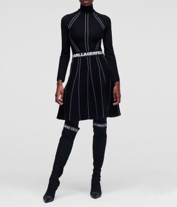 Платье KARL LAGERFELD 216W2031 с декоративной строчкой черное