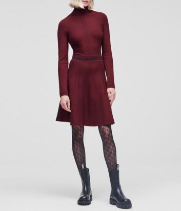 Платье KARL LAGERFELD 216W2031 с декоративной строчкой бордовое
