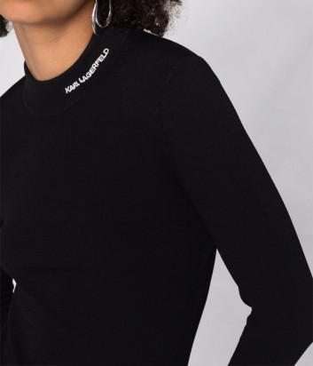 Джемпер-гольф KARL LAGERFELD 216W2010 с вышитым логотипом черный
