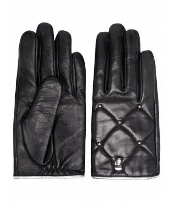 Кожаные перчатки KARL LAGERFELD Ikonik 216W3606 стеганные с декором черные