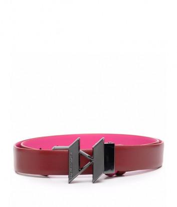 Кожаный ремень KARL LAGERFELD 216W3150 двухсторонний розово-бордовый