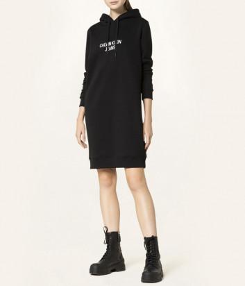 Платье-толстовка CALVIN KLEIN Jeans J20J216722 с капюшоном черное
