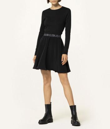Расклешенное платье CALVIN KLEIN Jeans J20J216717 с логотипом на поясе черное
