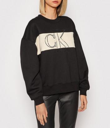 Свитшот CALVIN KLEIN Jeans J20J216448 черный с молочной полоской и лого