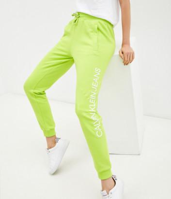 Спортивные брюки CALVIN KLEIN Jeans J20J216582 салатовые с логотипом