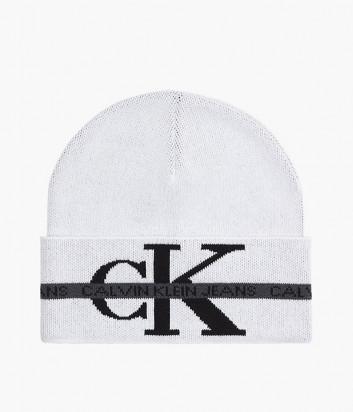 Вязаная шапка CALVIN KLEIN Jeans K50K507181 белая с логотипом