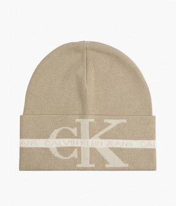 Вязаная шапка CALVIN KLEIN Jeans K50K507181 бежевая с логотипом